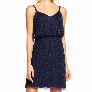 Adrianna Papell Navy Sequin Blouson Dress